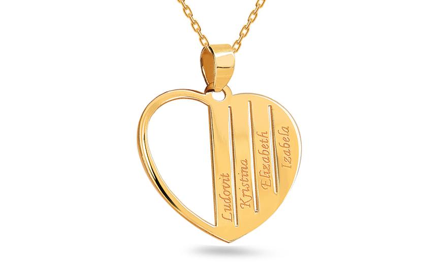 8211d9beb Arany medál Szív kívánság szerinti nevekkel