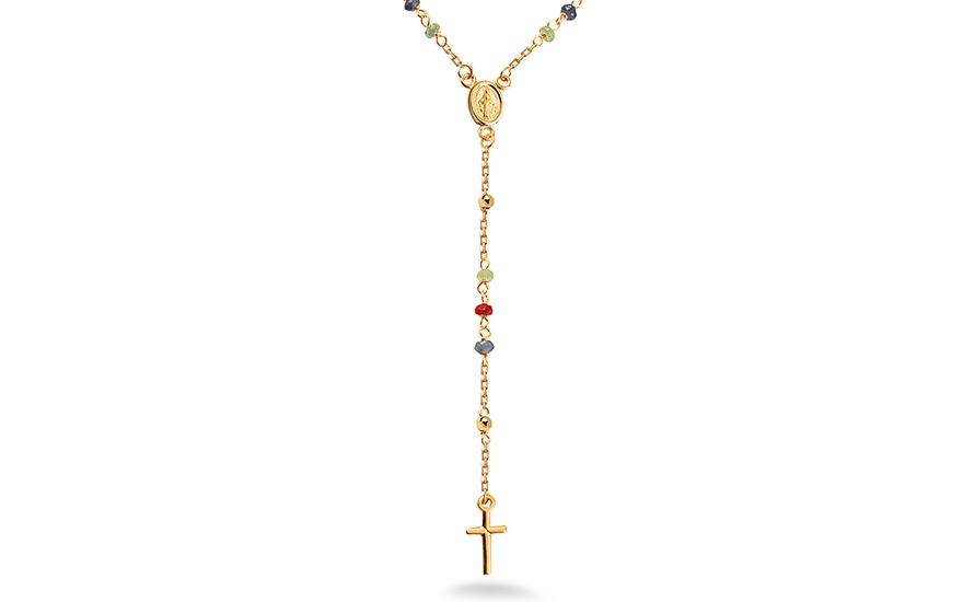 d195d750a Arany rózsafüzér természetes zafírokkal, rubinokkal és smaragdokkal