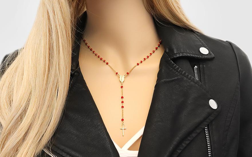 3211c5092 Aranyozott ezüst nyaklánc piros kövekkel Rózsafüzér