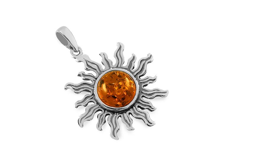 8eb6919a0 Ezüst medál borostyánnal Nap