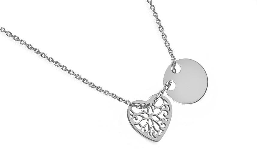 bade282ce4 Ezüst nyaklánc szív és kör medállal , nőknek (IS2328) | aEkszerek.hu