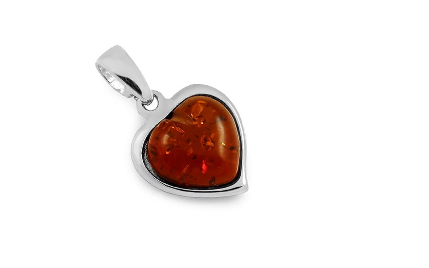 2f23300b3 Ezüst szív alakú borostyán medál