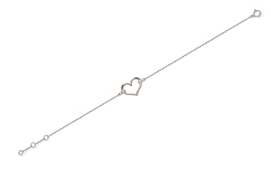 79464f368 Fehér arany karkötő gyémántokkal 0,010 ct szív