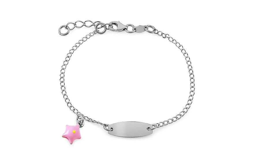 561090bc9 Gyermek ezüst karkötő lemezzel és csillaggal