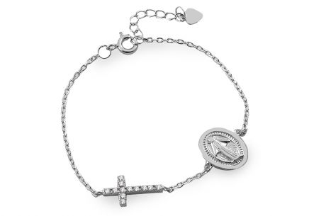 112dd884df Ezüst karkötő Szűz Máriával és kereszttel ...