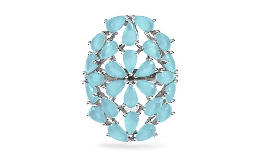 Különleges ezüst virág gyűrű világoskék kövekkel  103eb1ea61