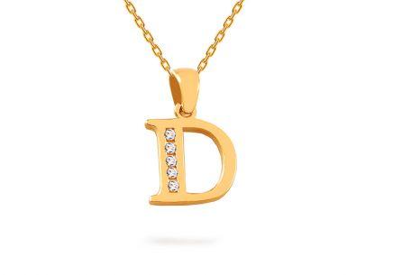 6465fe014 Arany medál D-betű cirkonokkal
