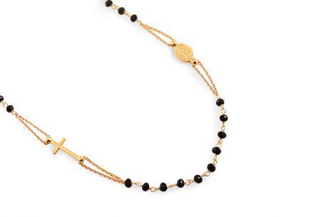 d41a62001 Aranyozott ezüst nyaklánc fekete kövekkel Rózsafüzér