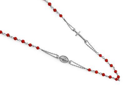 47028b8ec Ezüst nyaklánc piros gyöngyszemekkel Rózsafüzér