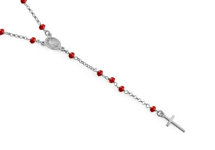 e00d6c520 Ezüst nyaklánc piros kövekkel Rózsafüzér
