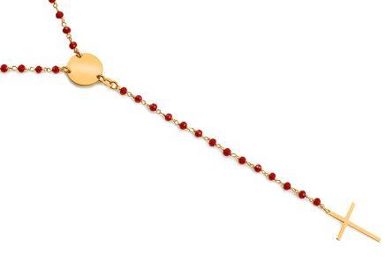 acace7cb9 Hosszú ezüst nyaklánc piros kövekkel Rózsafüzér