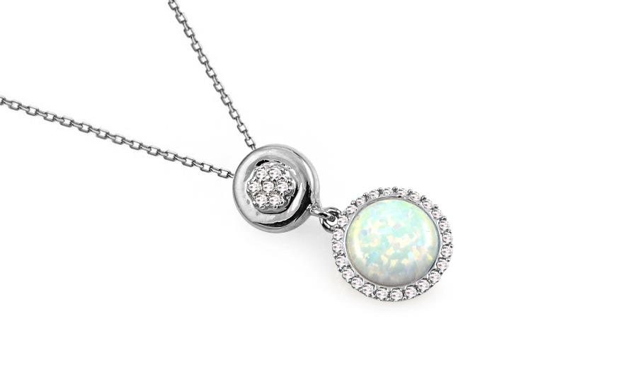 9dd72f598 Opál nyaklánc fehér aranyból cirkóniával