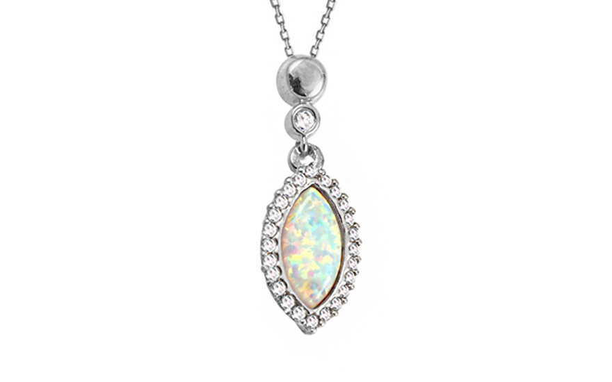 4e15eb16c Opál nyaklánc fehér aranyból, cirkonokkal