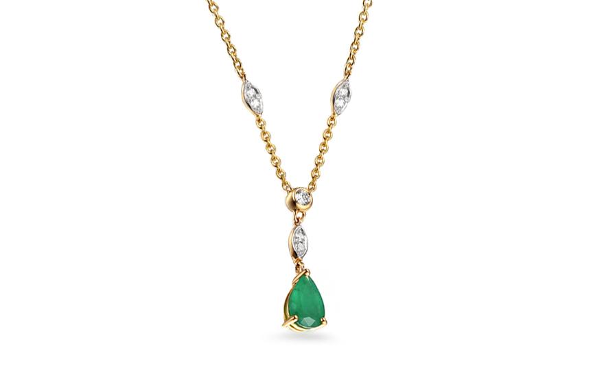 3fb421563 Smaragd arany nyaklánc 0,060 ct gyémántokkal Madelaine 2