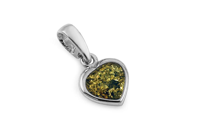 f52859461 Szív alakú ezüst medál zöld borostyán kővel